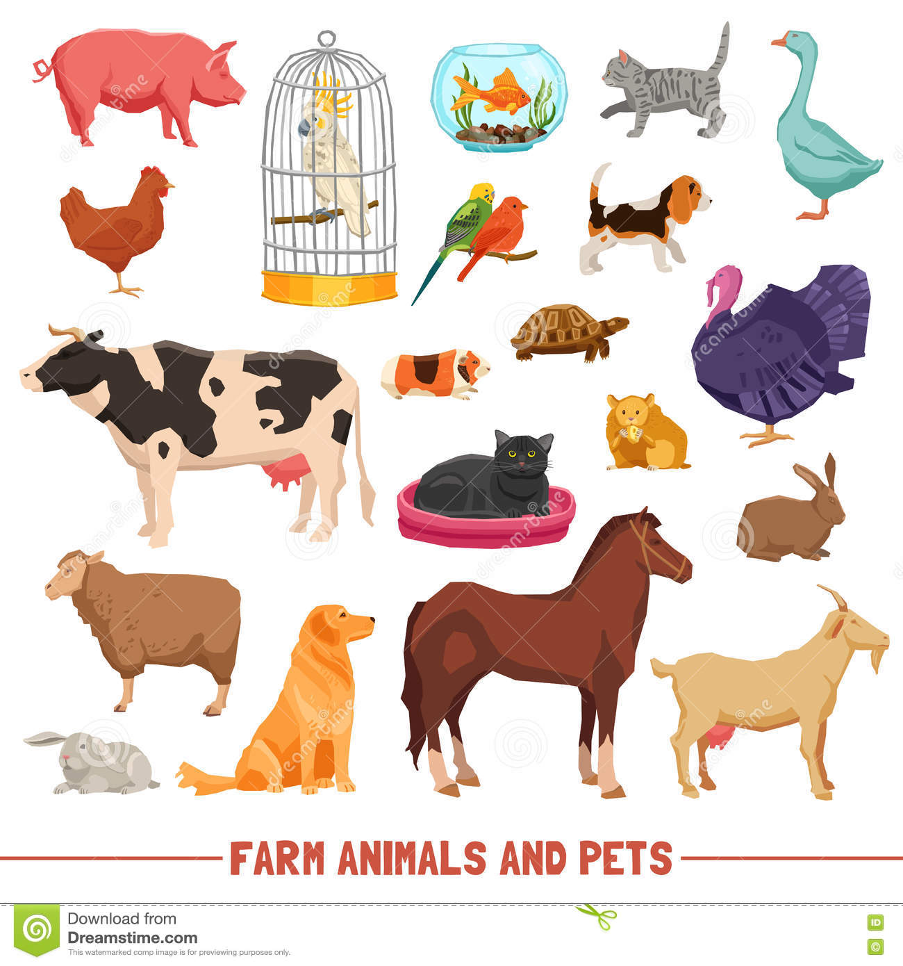 Farm Animals And Pets Set Stock Vector Illustration Of