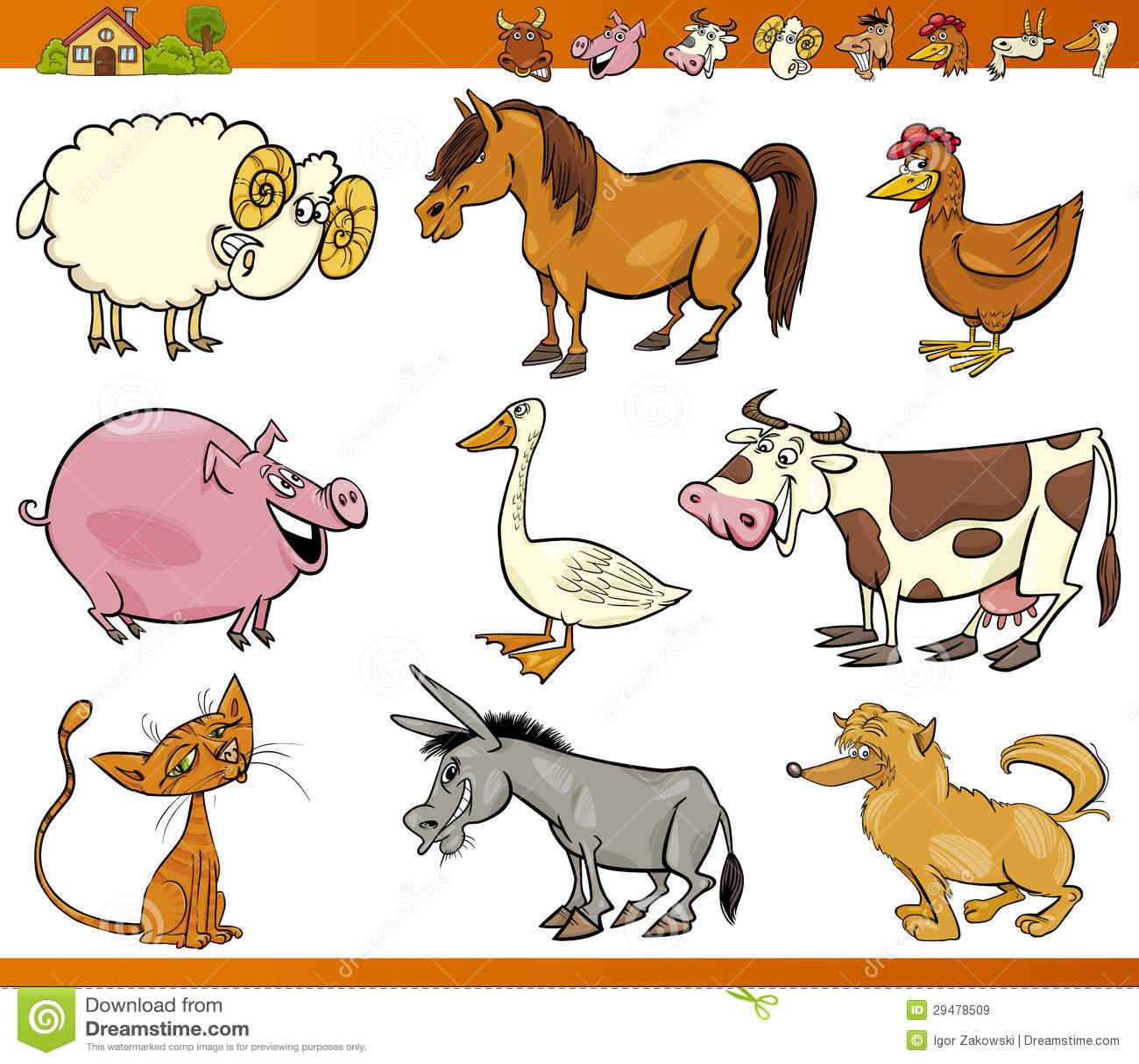 Farm Animals Set Cartoon Illustration Royalty Free Stock