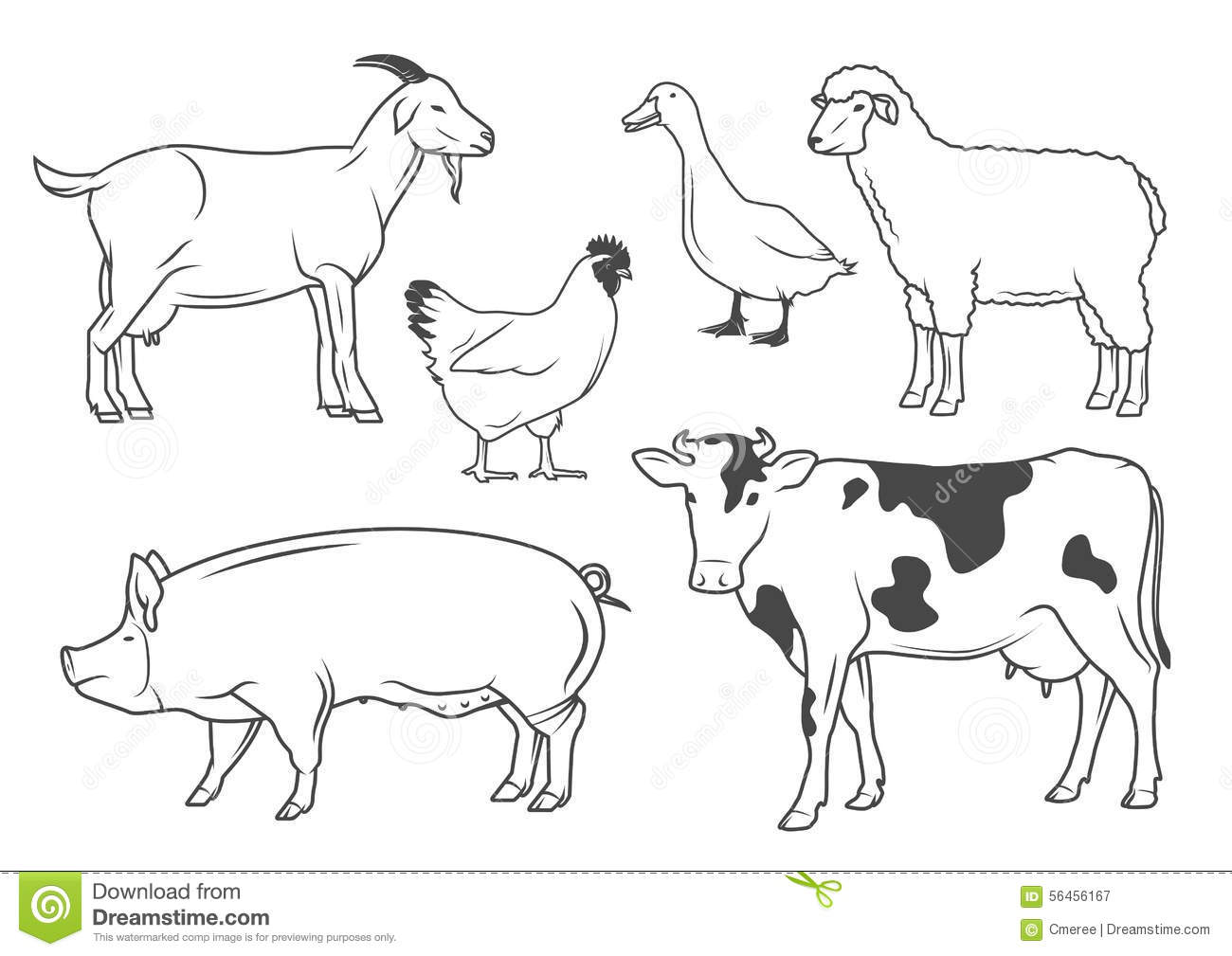 Farm Animals Stock Vector Illustration Of Collection