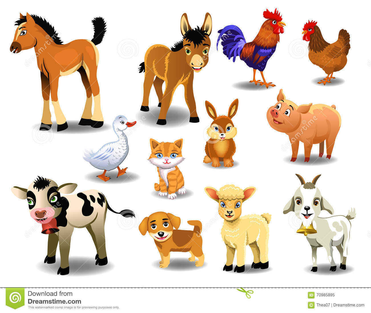Farm Animals On A White Background Stock Vector