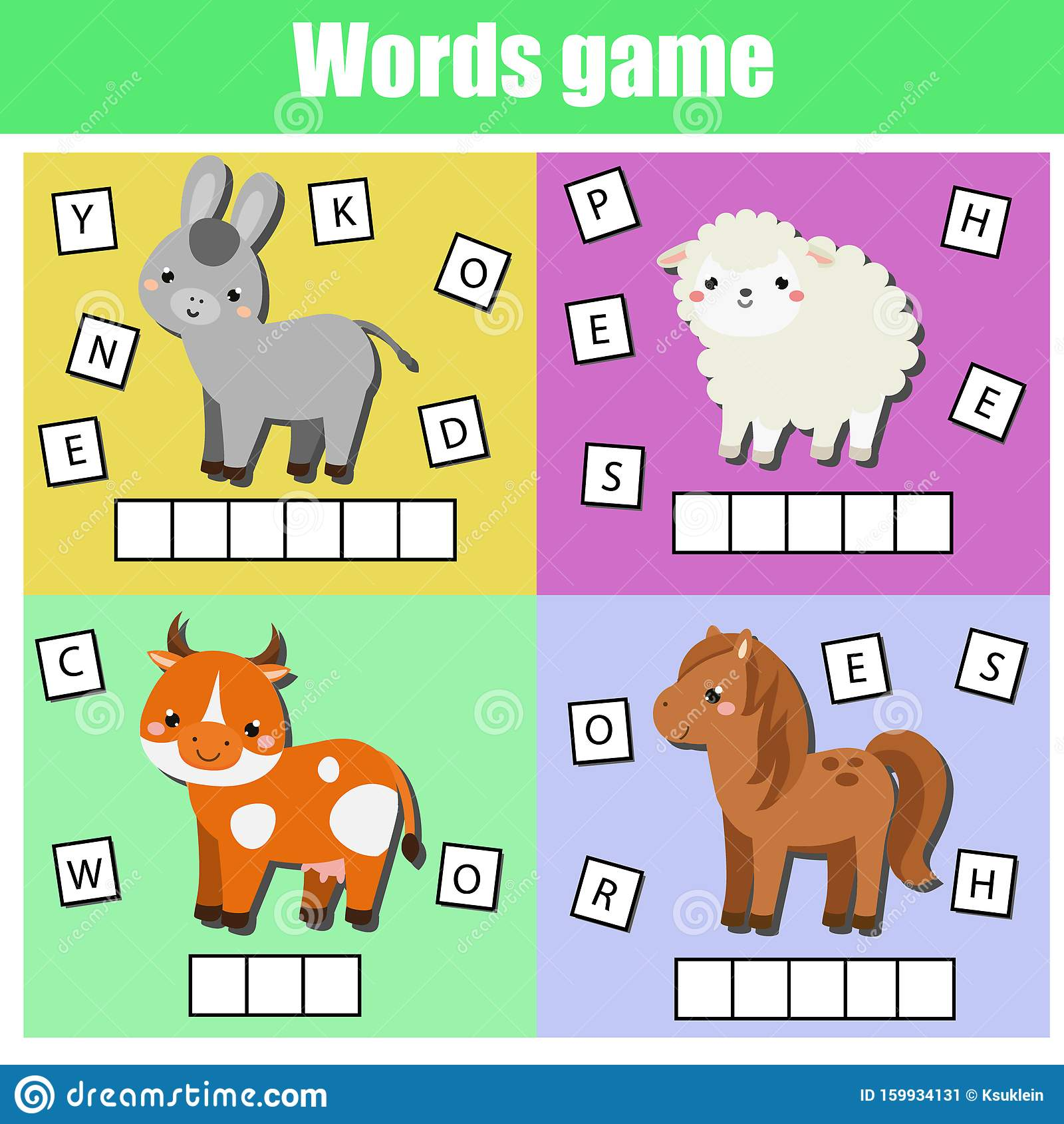 Farm Animals Write Missing Letters And Complete Words
