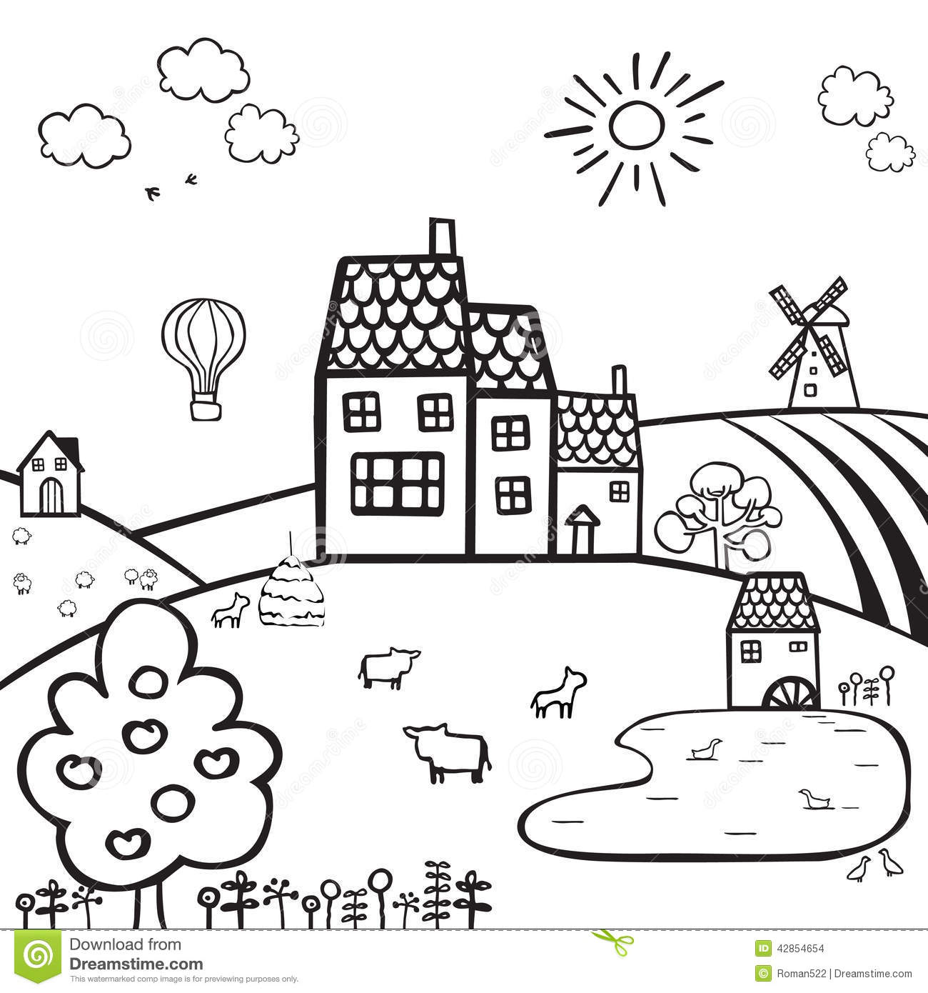 Farm Black And White Landscape Stock Vector
