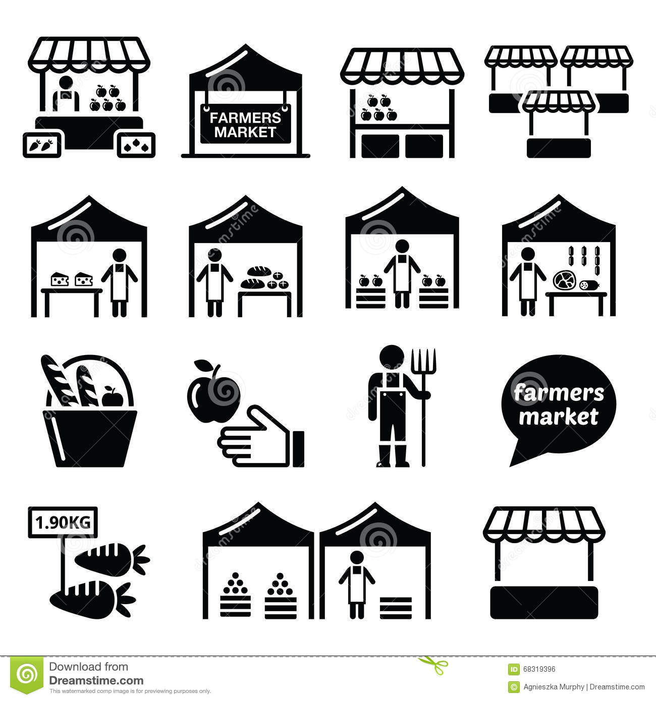 Farmers Market Food Market With Fresh Local Produce Icons