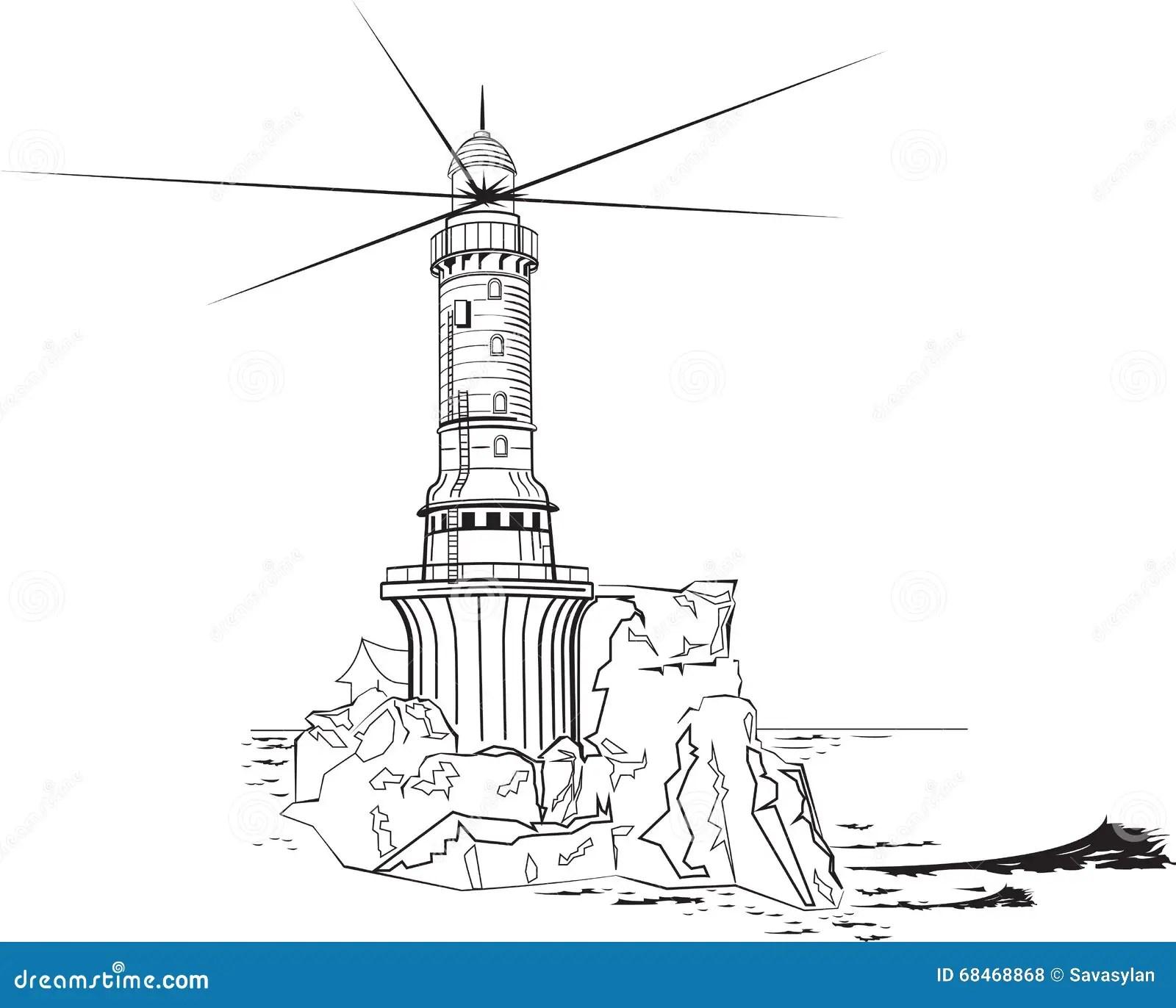 Faro Blanco Y Negro Ilustracion Del Vector
