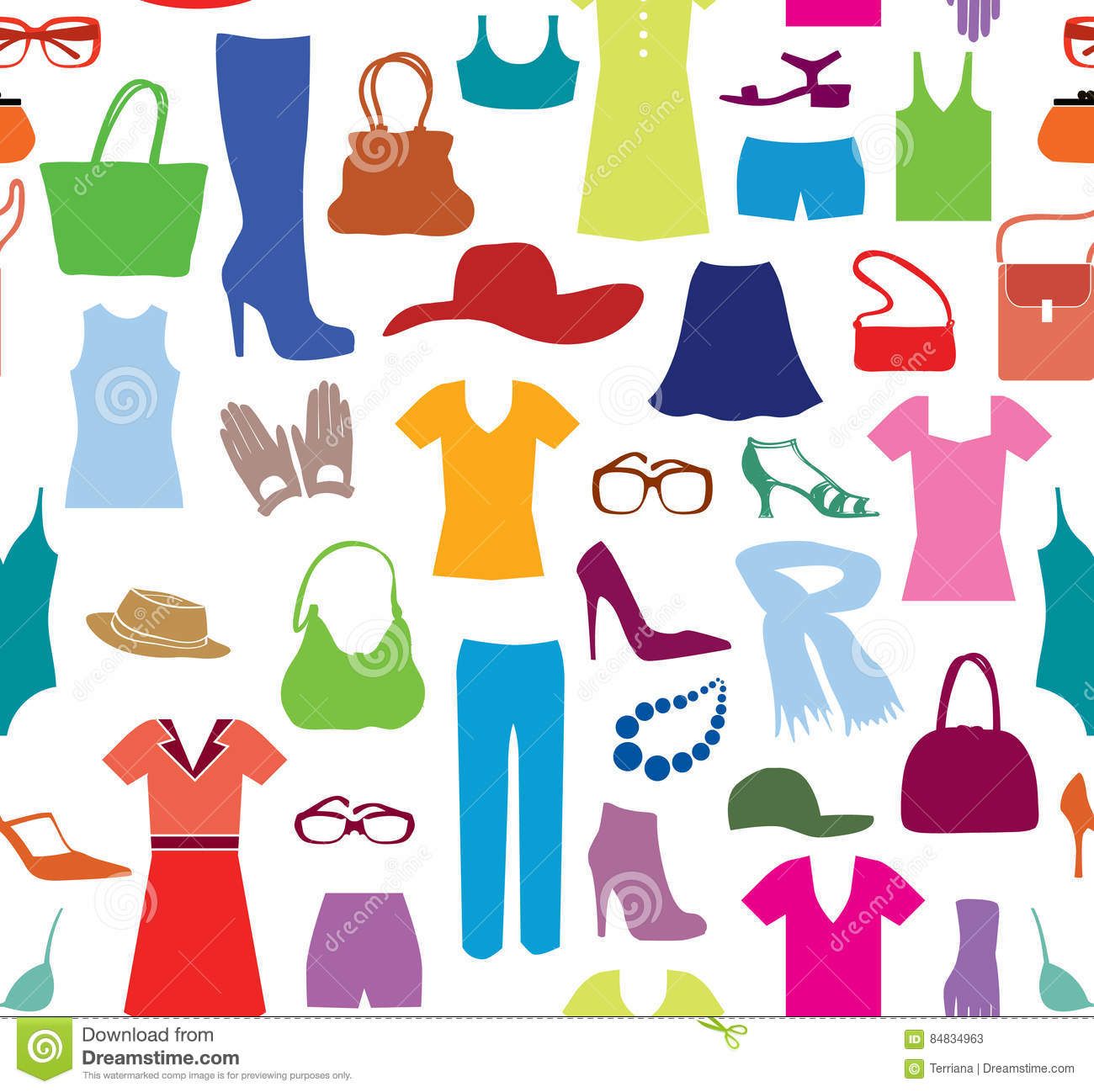 Fashion Cloth Seamless Pattern Women Clothes And