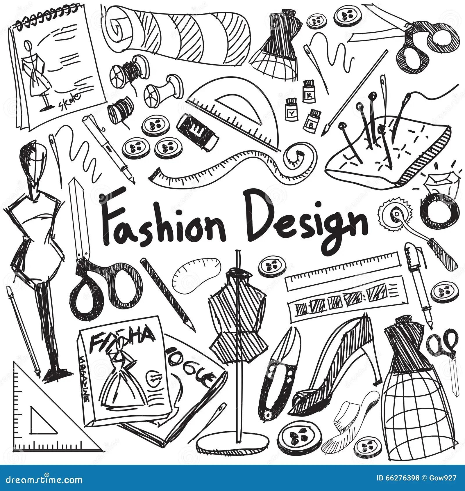 Fashion Design Education Handwriting Doodle Icon Tool Sign