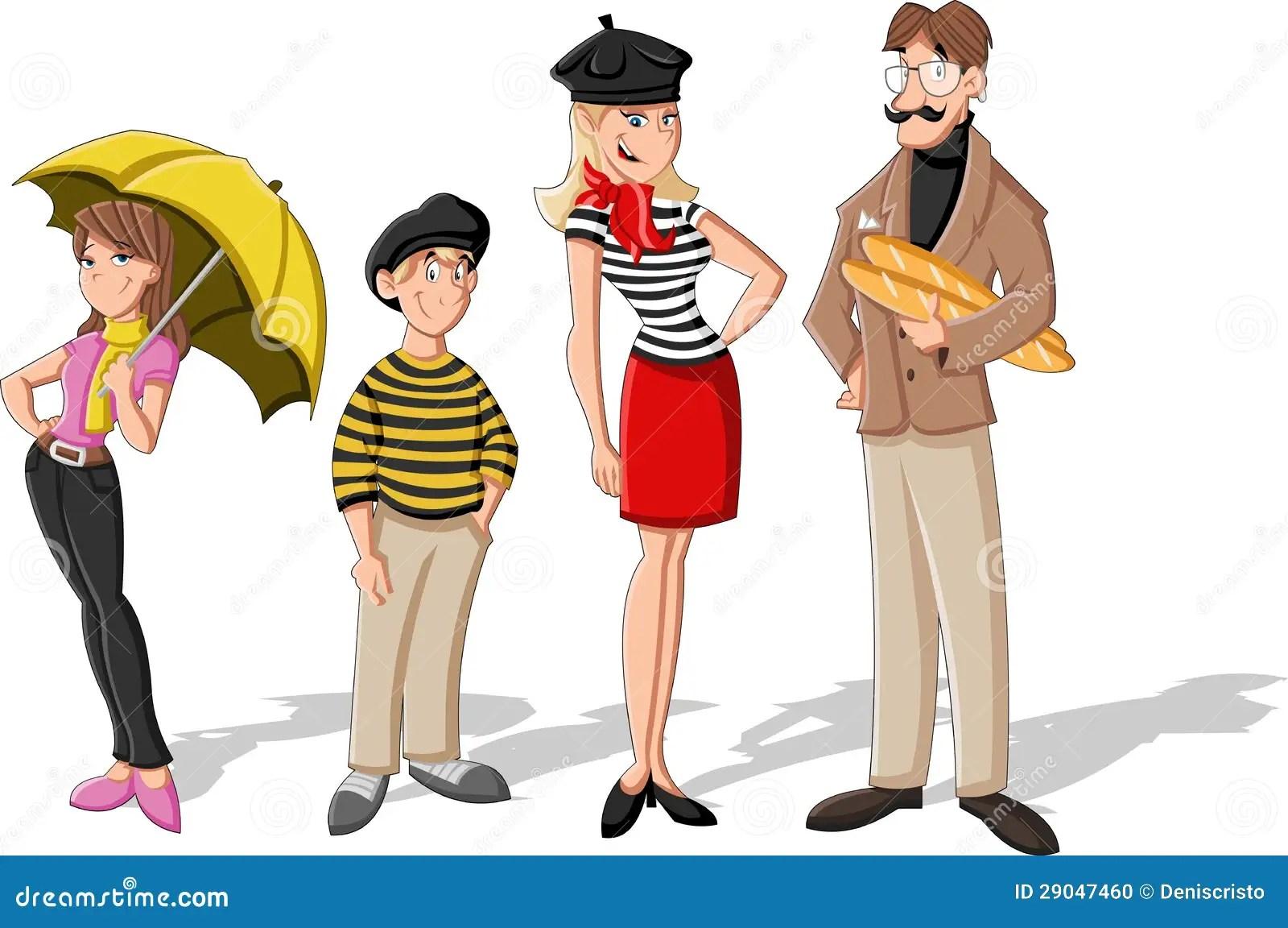 Fashion French Cartoon Family Stock Photo