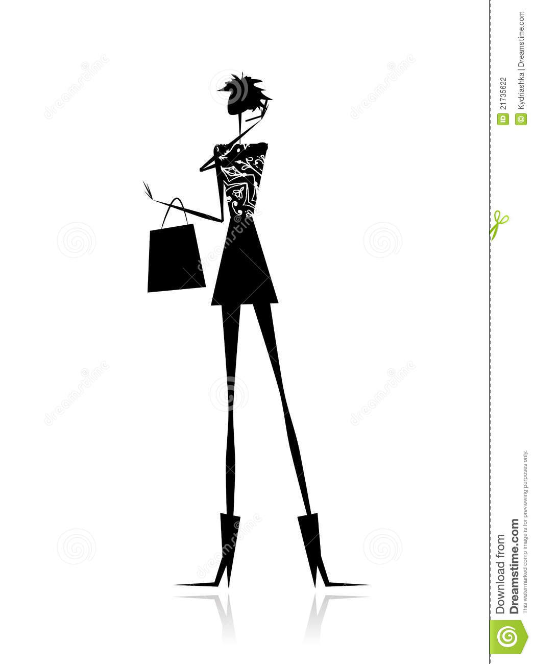 Fashion Girl Silhouette With Shopping Bag Stock Vector