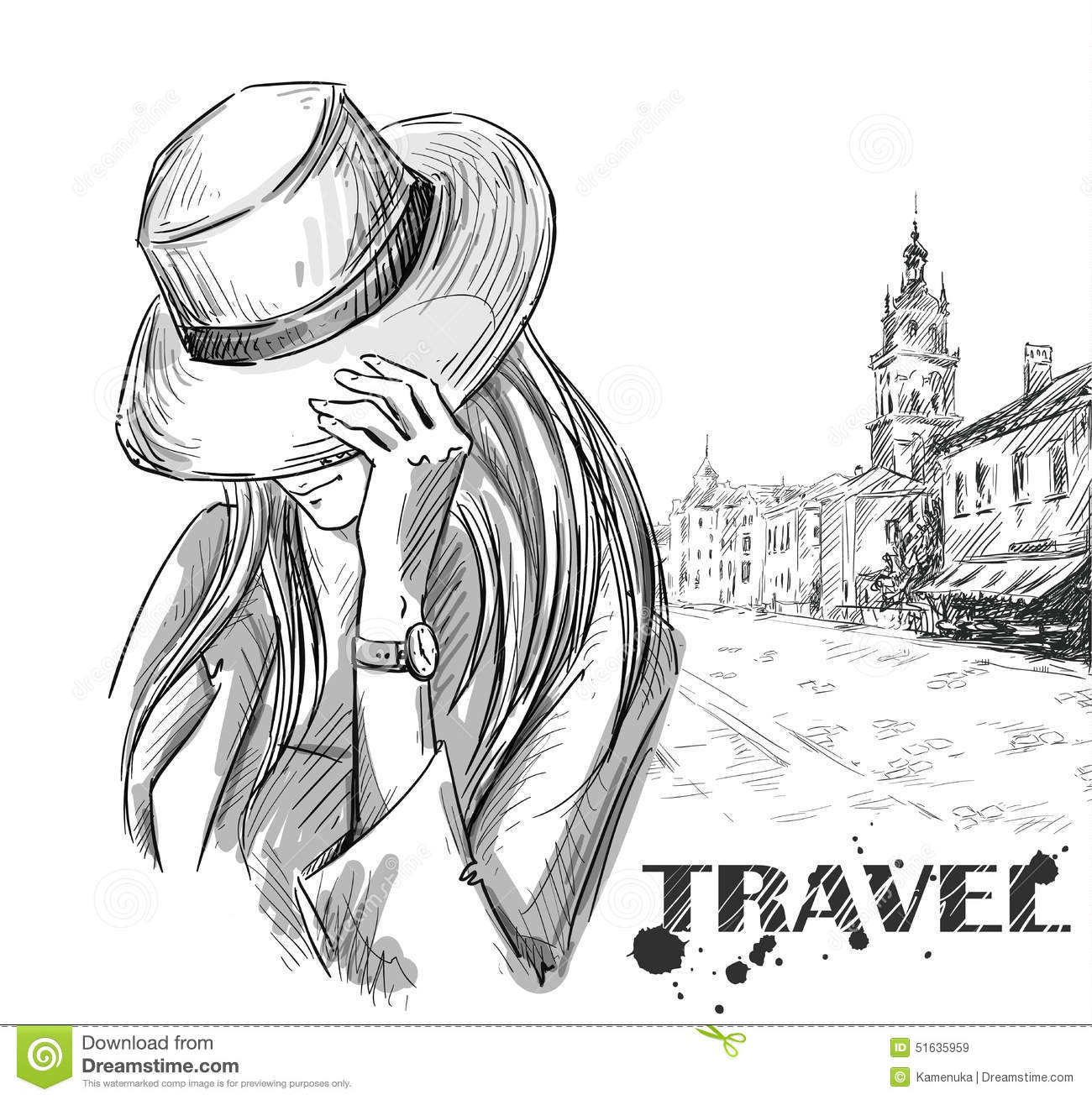 Fashion Illustration Girl On An Old Town Background Hand