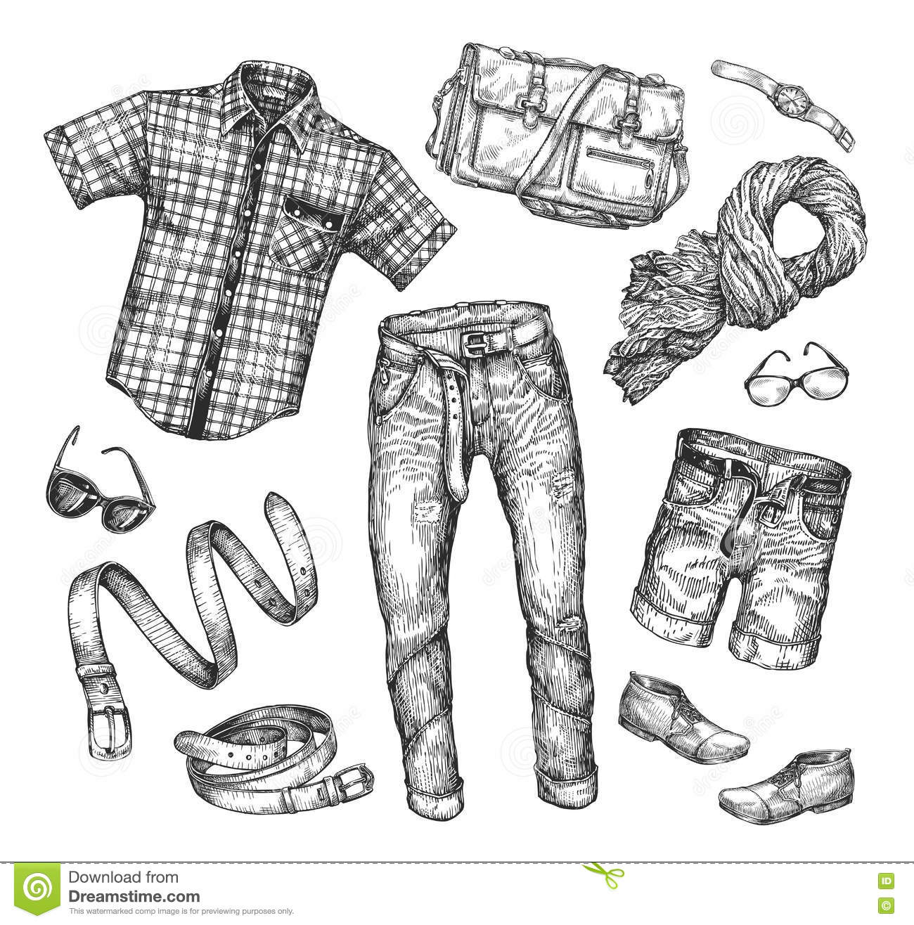 Fashion Vector Collection Of Men Clothing Hand Drawn