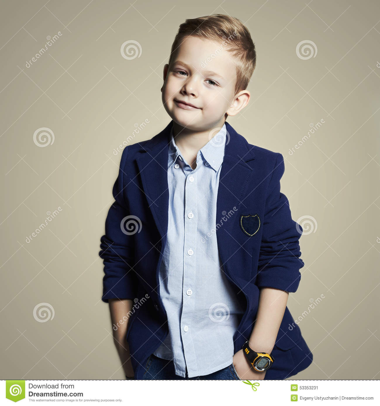 Fashionable Little Boystylish Child In Suit Stock Photo