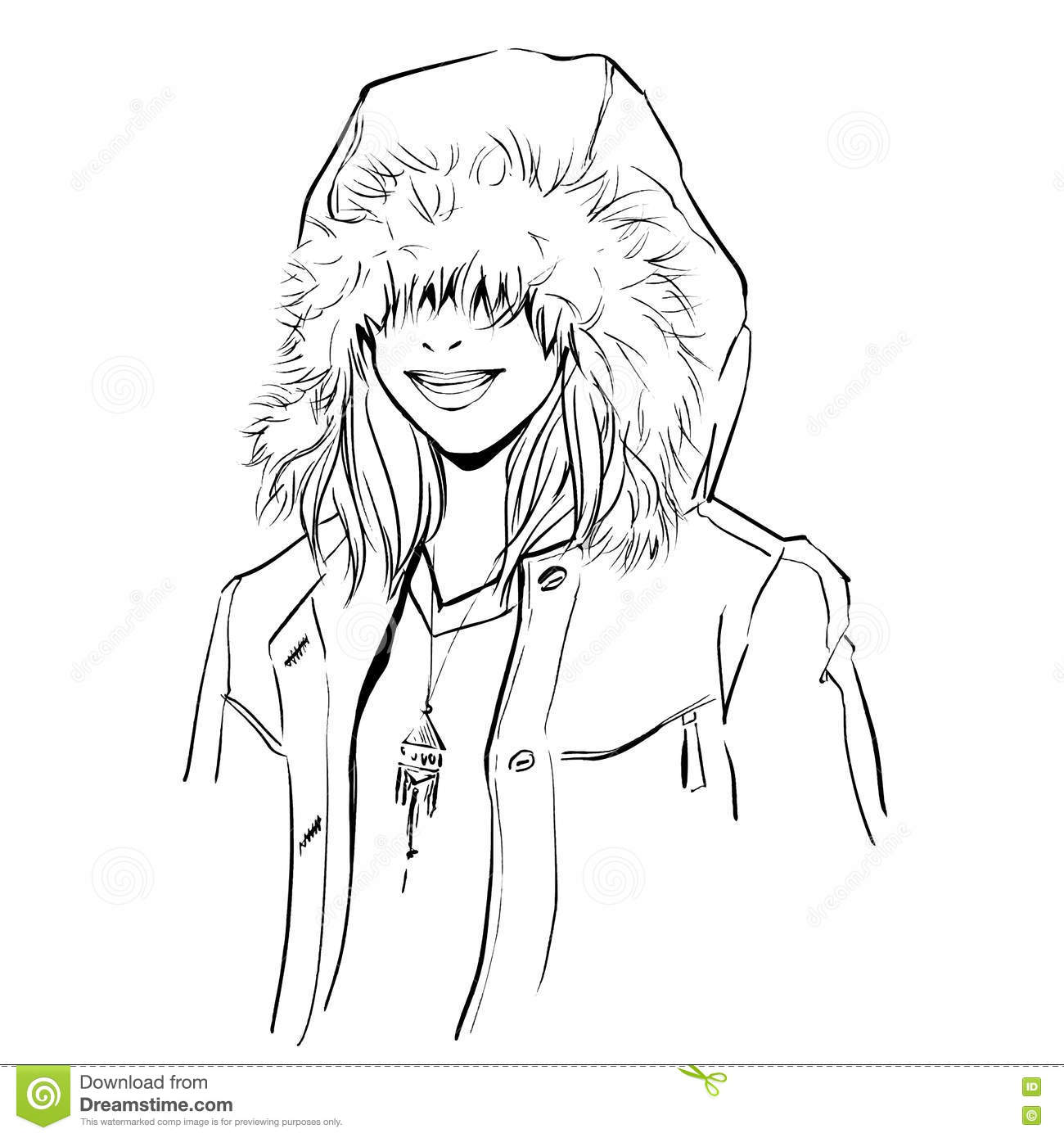 Fashionable Stylish Woman In Winter Clothes Stock Vector