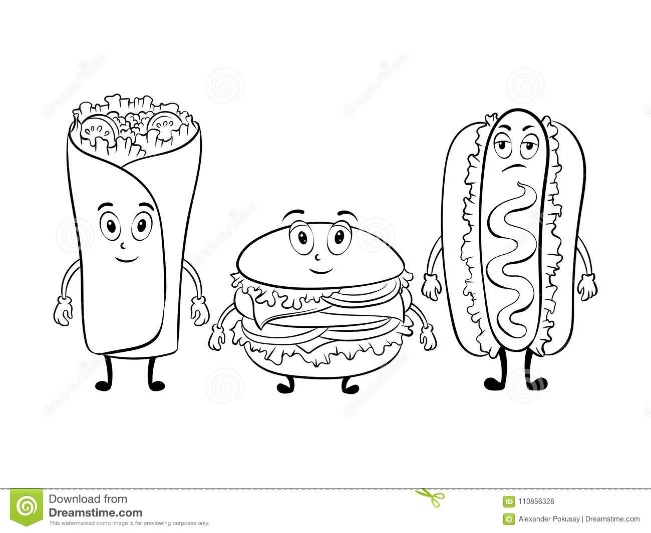 Fast Food Cartoon Coloring Book Vector Stock Vector
