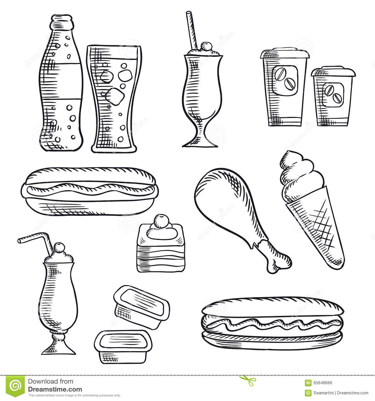 Fast Food With Dessert And Drinks Sketch Icons Stock