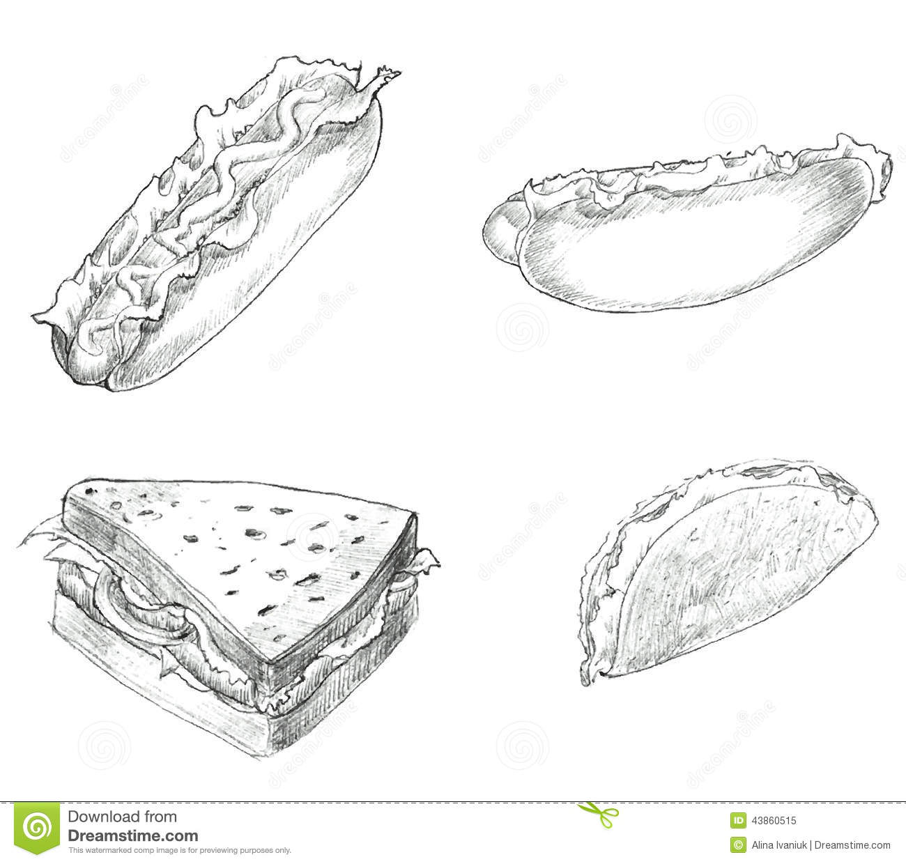 Fast Food Hand Drawn Set Black And White Stock Vector