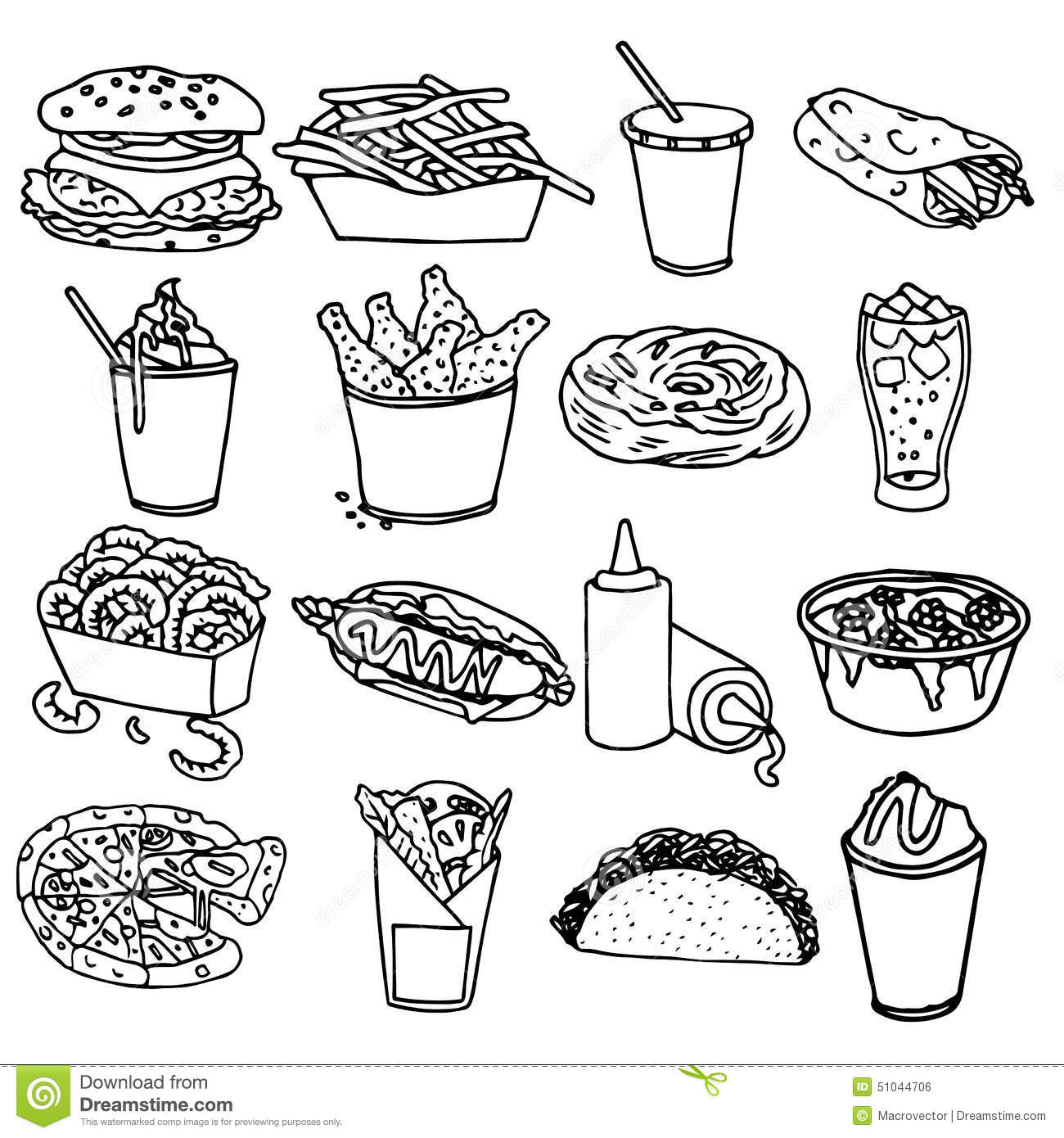 Fast Food Menu Icons Black Outline Stock Vector