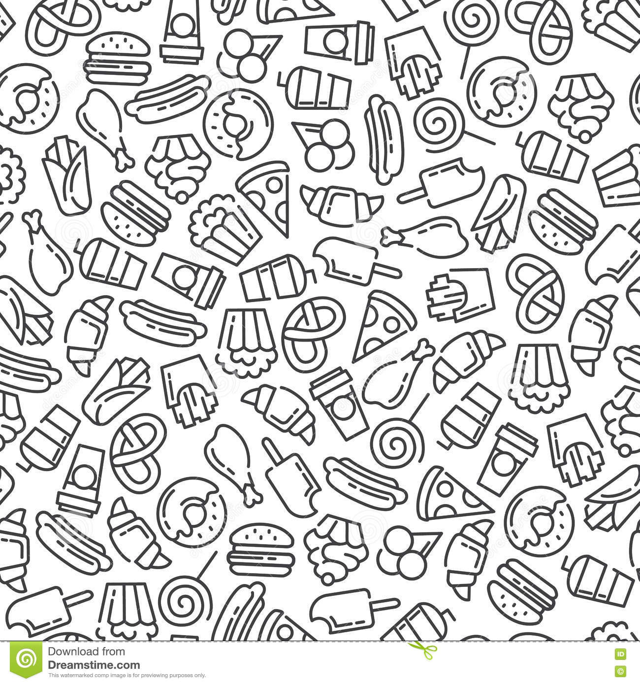 Vector Seamless Pattern With Fast Food Icon Set Vector