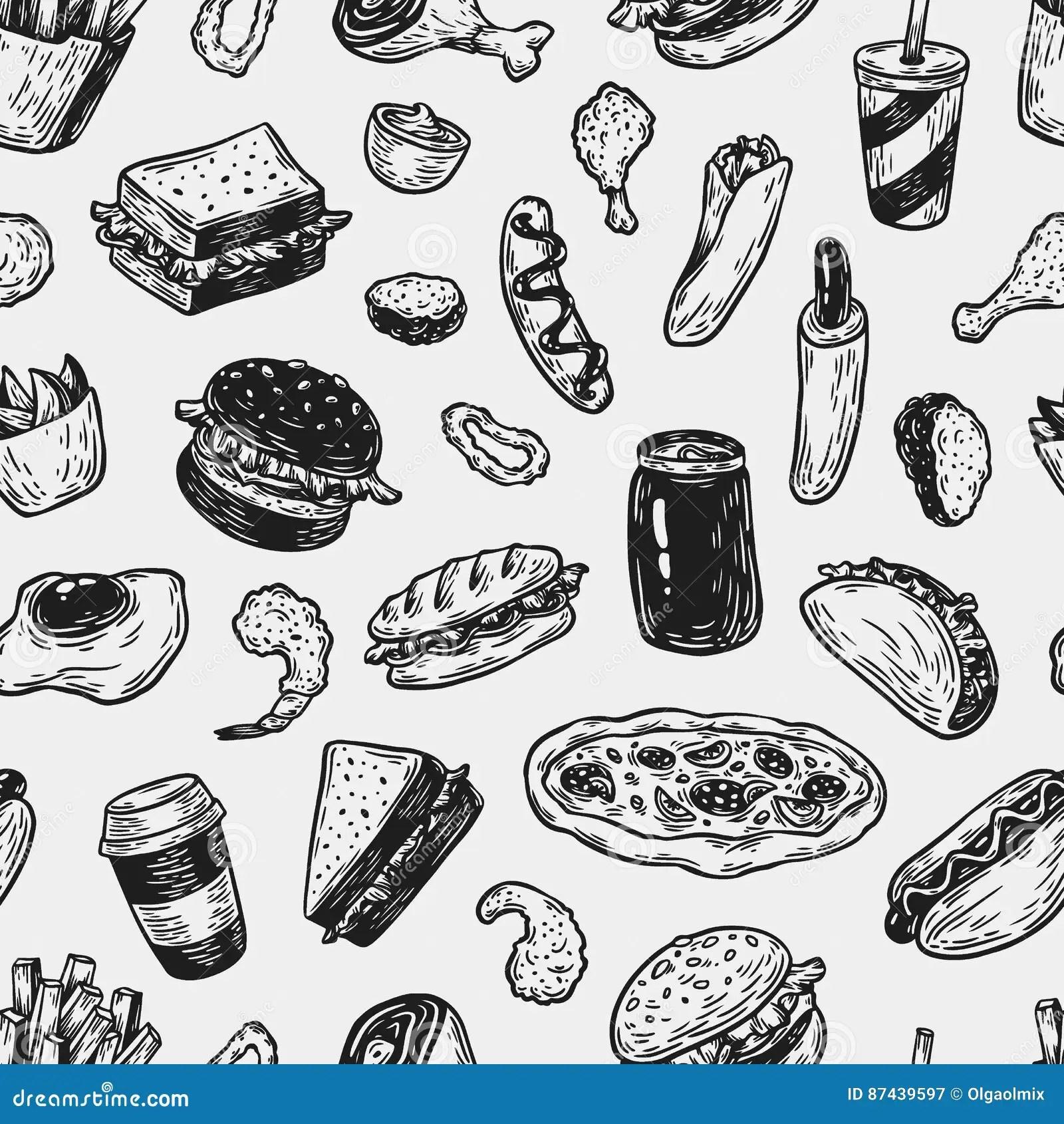 Fast Food Pattern Cartoon Vector