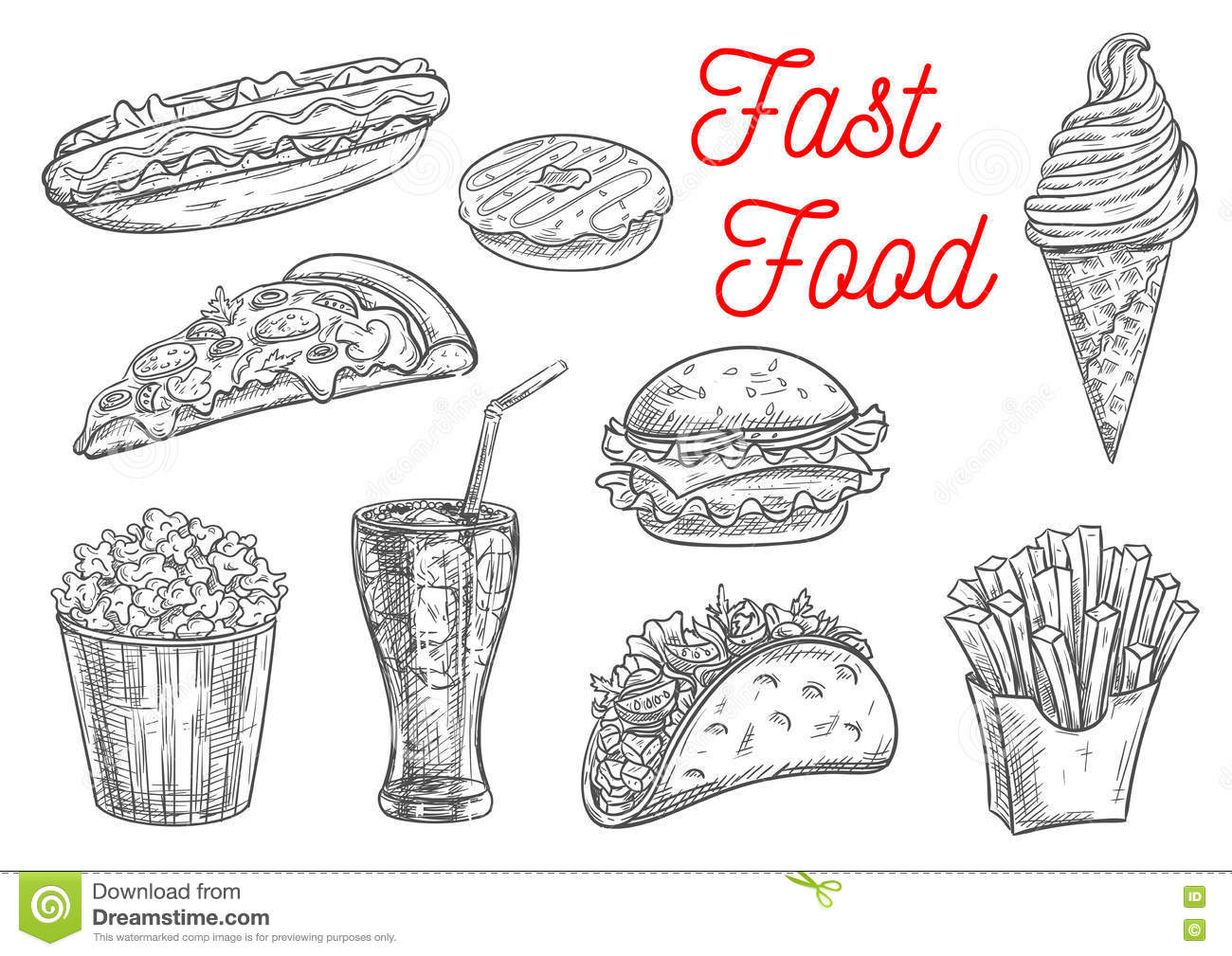 Fast Food Snacks And Drinks Icons Sketch Stock Vector