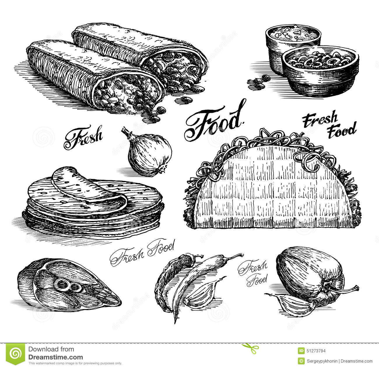 Fast Food Vector Logo Design Template Burritos Or Stock