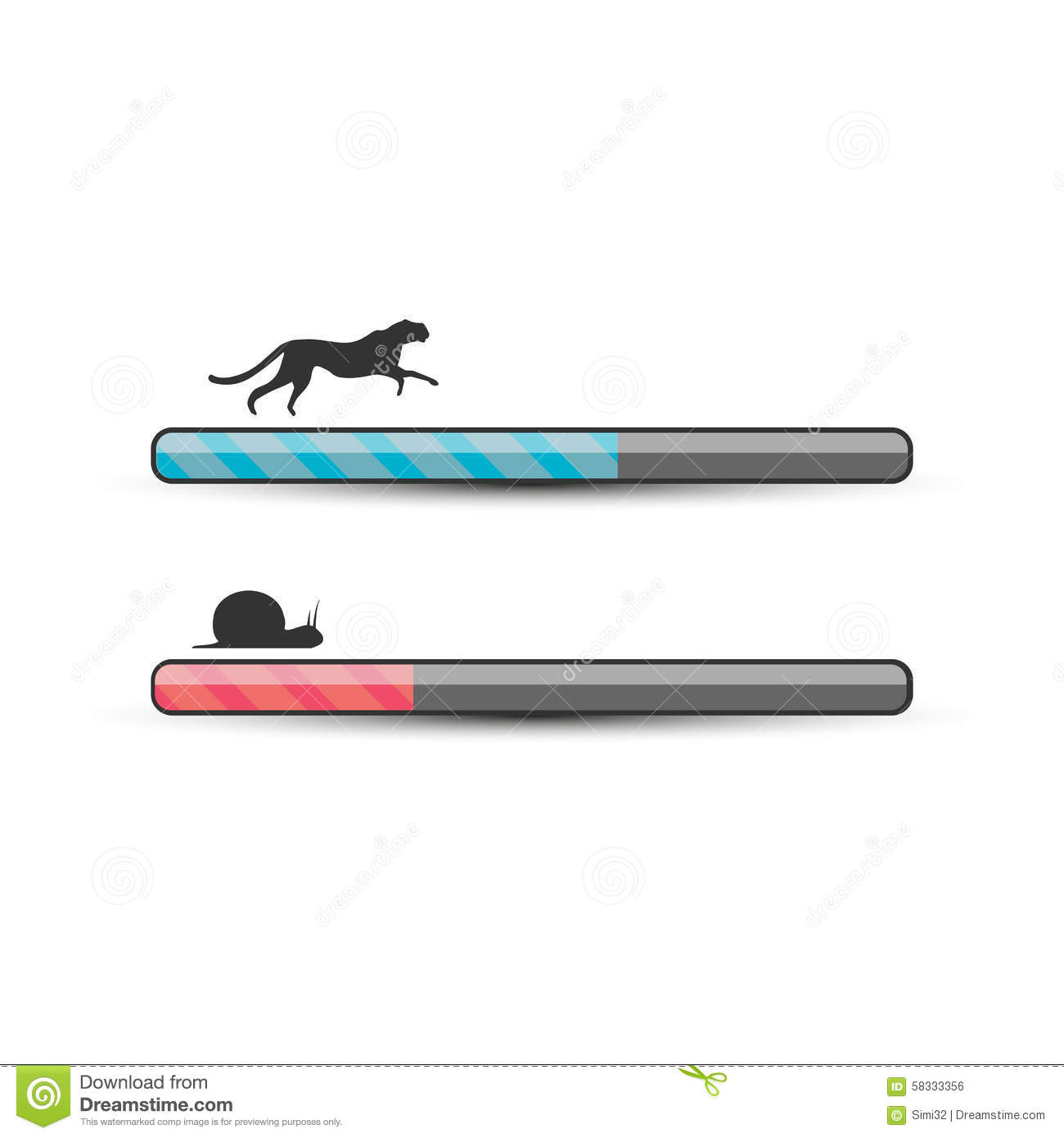 Fast And Slow Loading Concept Stock Vector