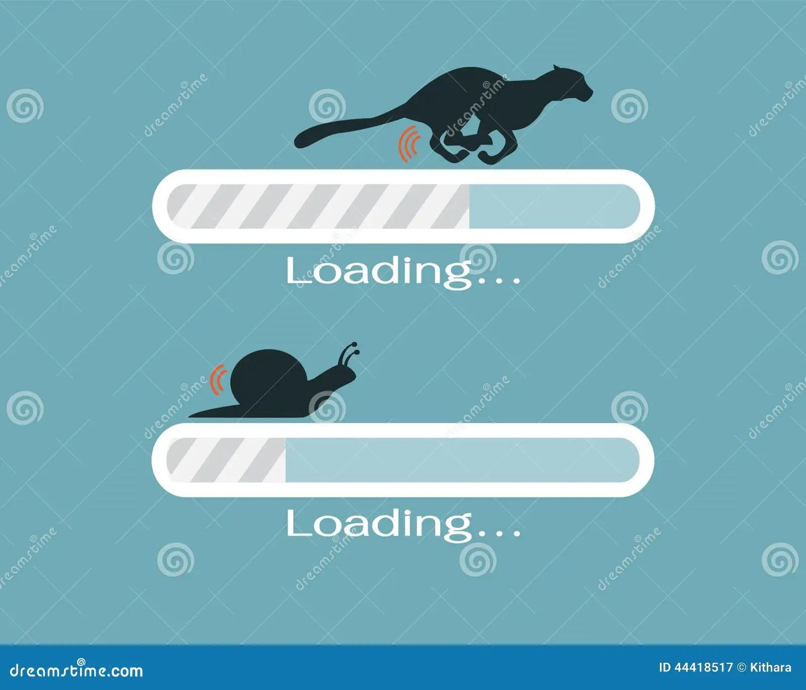 Fast And Slow Progress Loading Bar Stock Vector