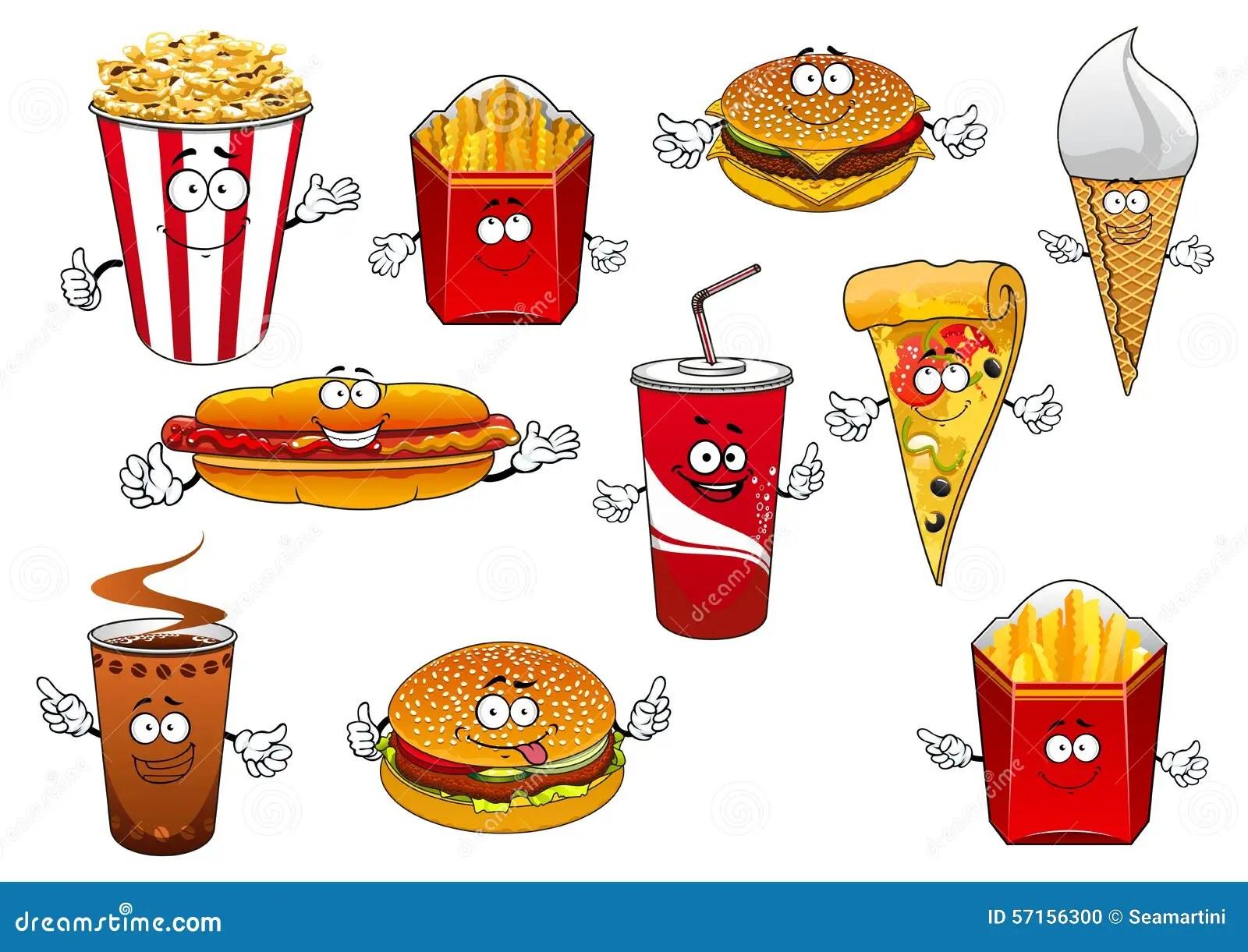 Fastfood Abd Takeaway Cartoon Characters Stock Vector