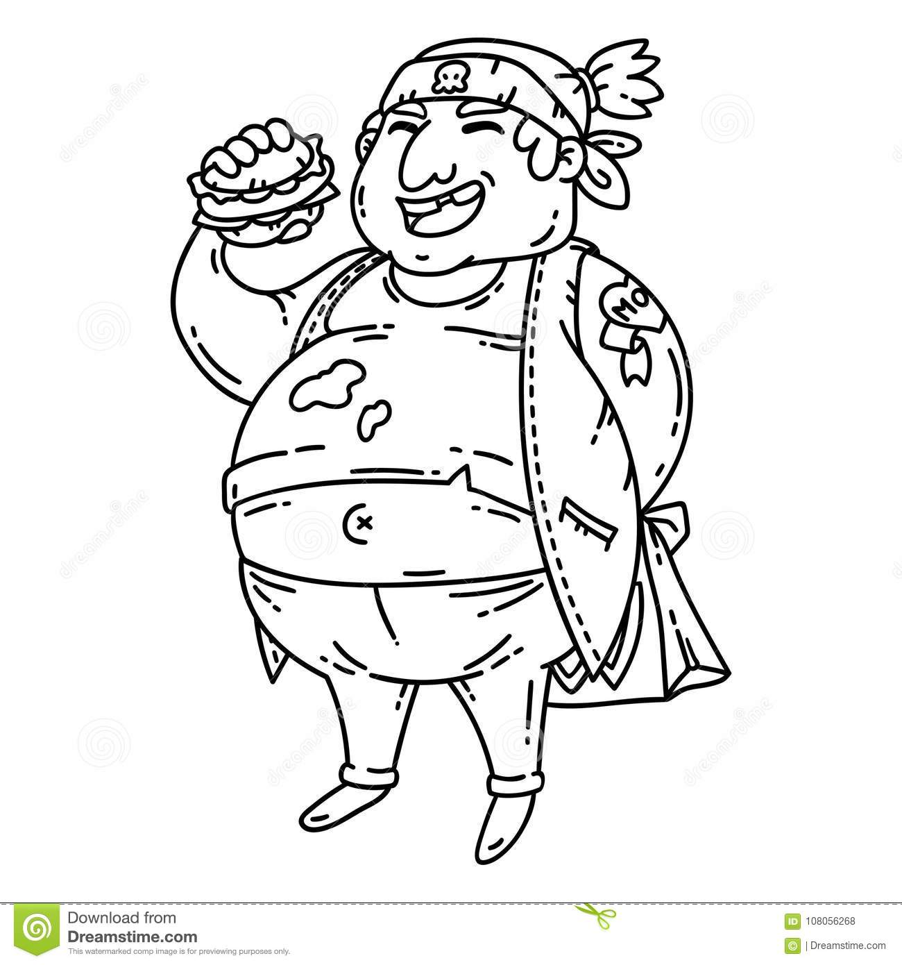 Fat Man With Burger Obese Character Cartoon Vector