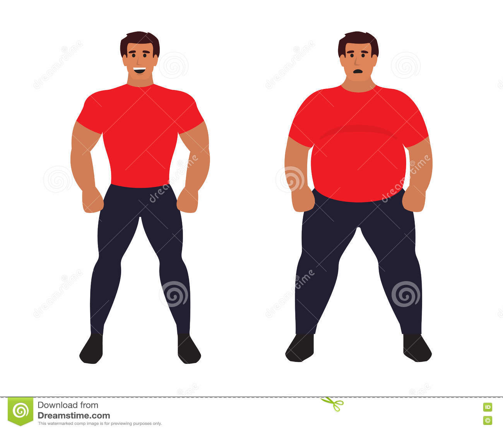 Fat And Slim Cartoon Vector
