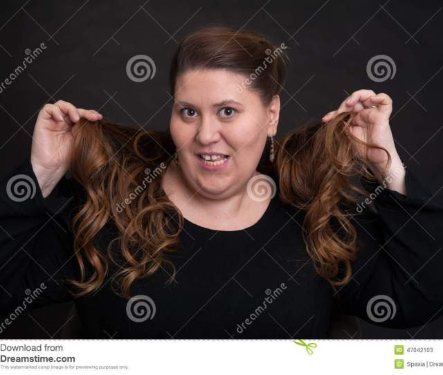 Fat Woman With Long Curly Hair