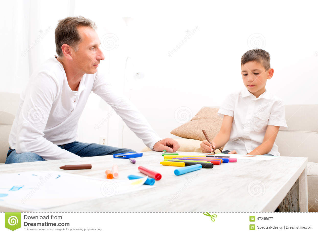 Father And Son At Home Stock Image Image Of Communication