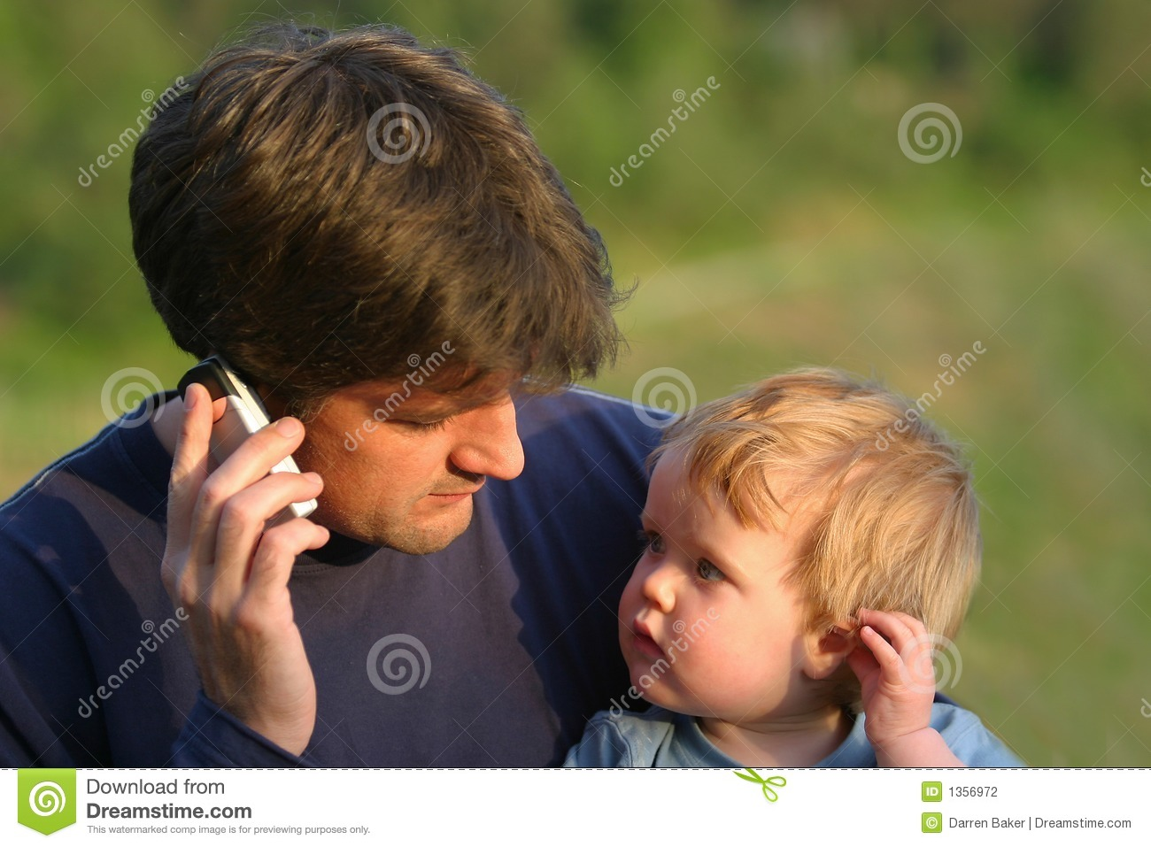 Father To Son Communication Stock Photo