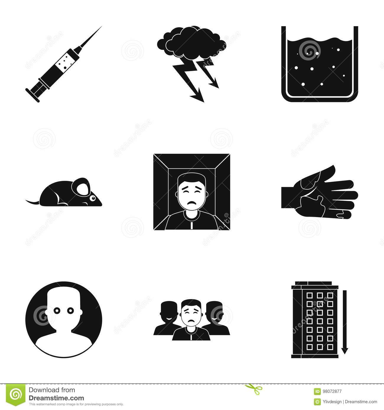 Fears And Phobias Icon Set Simple Style Stock Vector