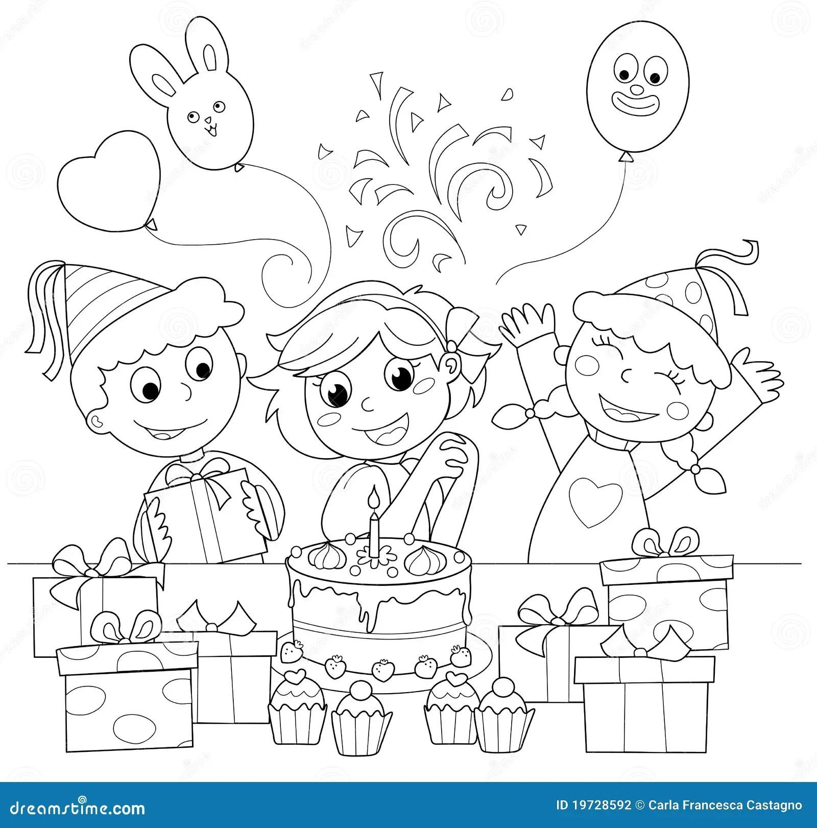 Feliz Aniversario Ilustracao De Coloracao Ilustracao Do Vetor