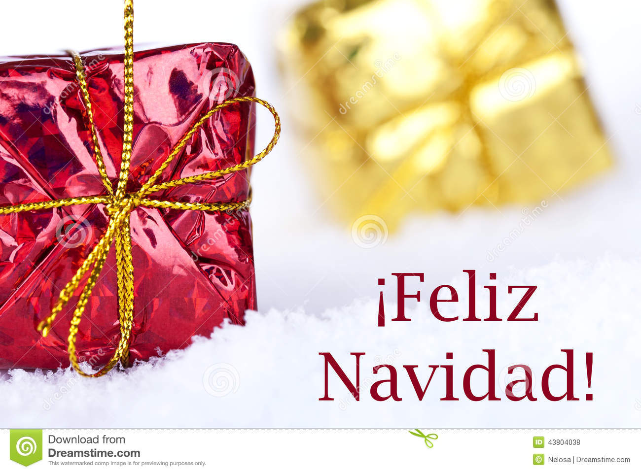 Feliz Navidad In The Snow With Gifts Stock Photo Image 43804038