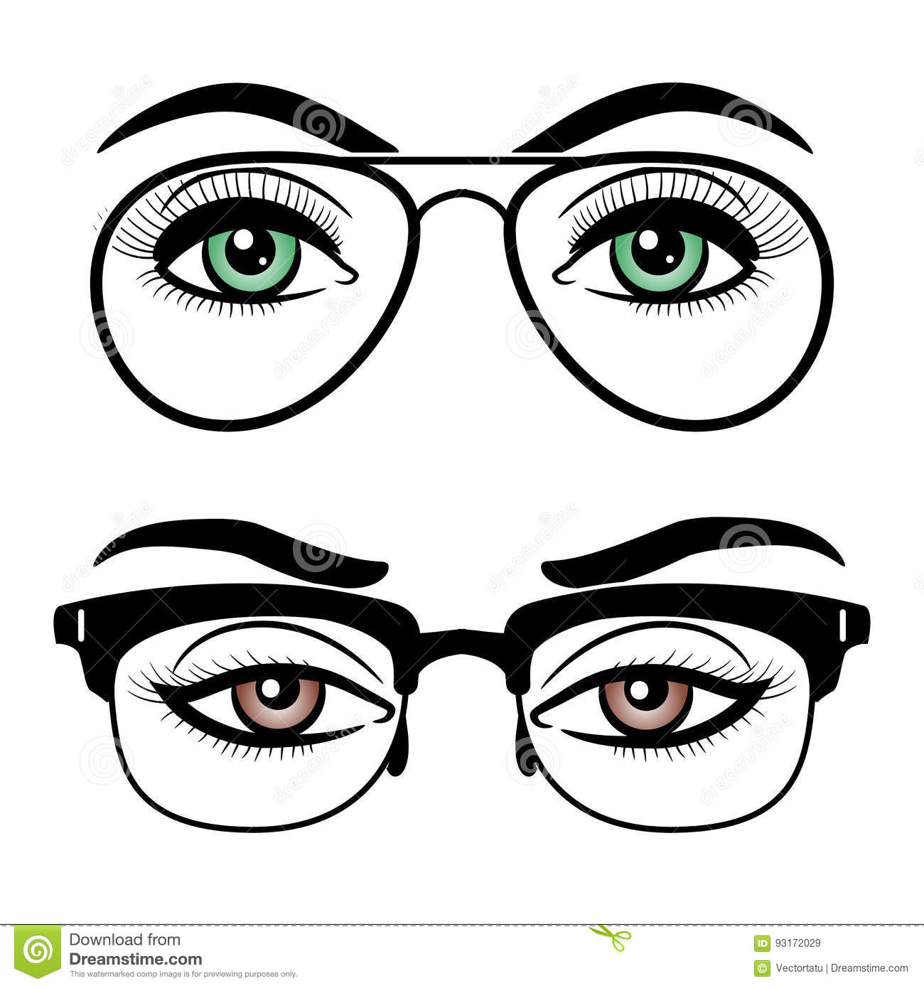 Female Eyes With Glasses Cartoon Vector