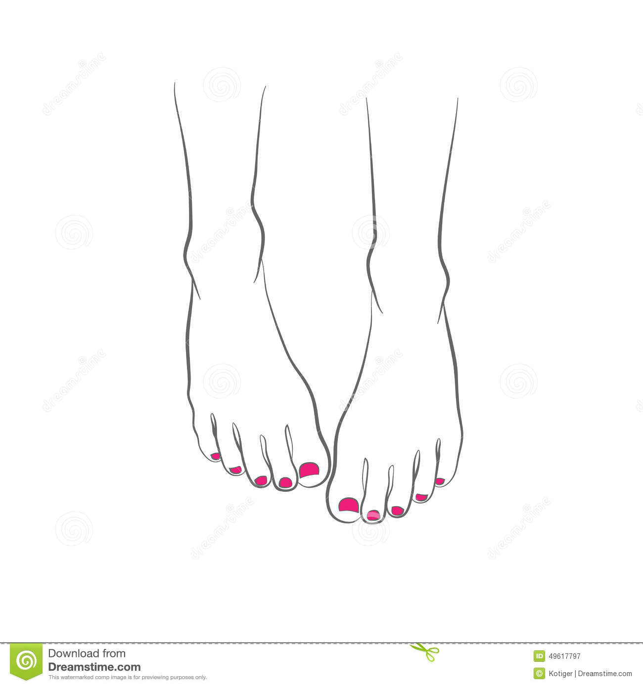 Female Feet With Red Pedicure Chiropody Vector Stock