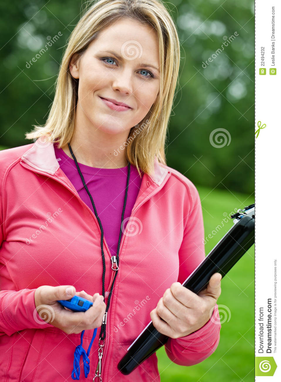 Female Fitness Trainer Portrait Stock Photo Image Of