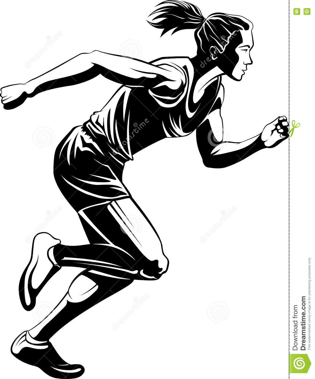Female Runner Silhouette Stock Vector Illustration Of