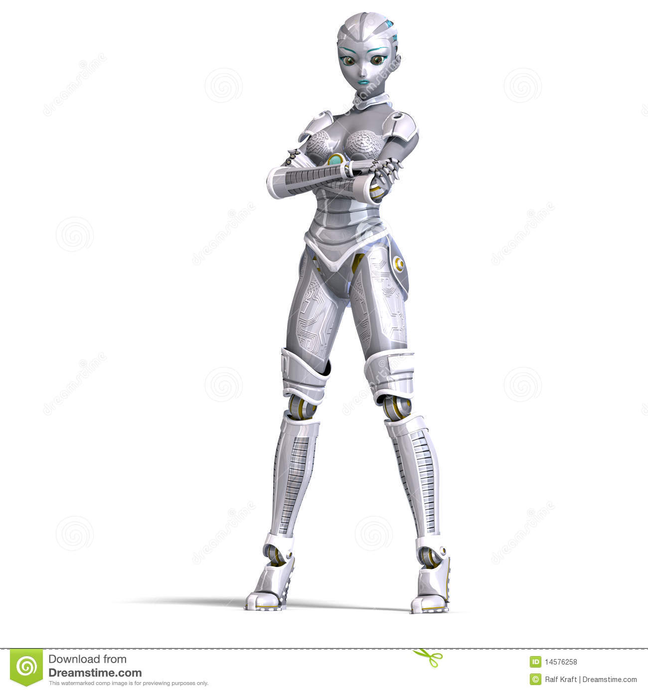 Female Metallic Robot 3d Rendering With Royalty Free