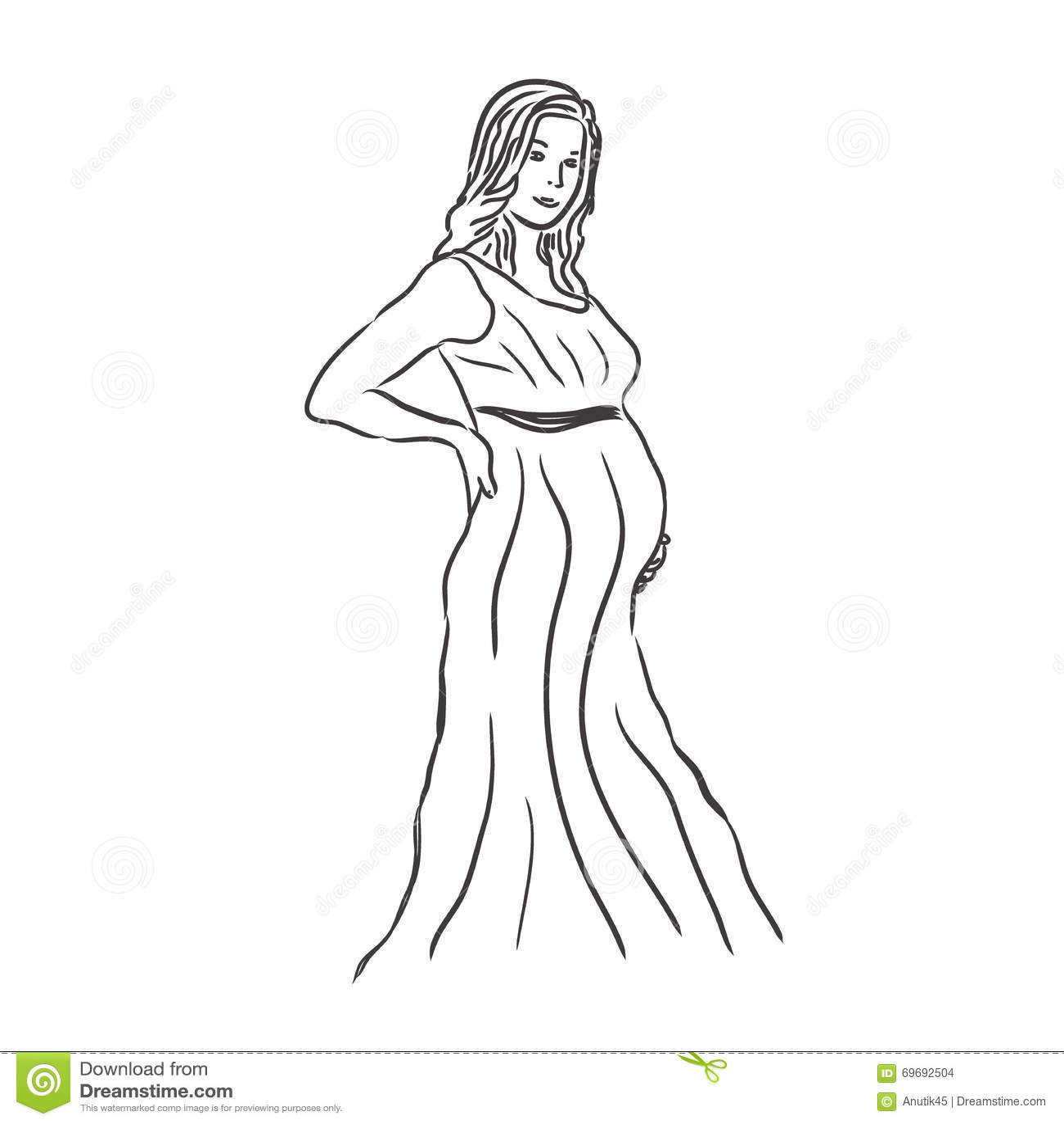 Femme Enceinte Croquis Illustration De Vecteur