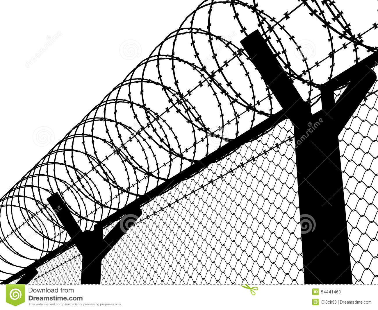 Fence With A Barbed Wire Stock Illustration