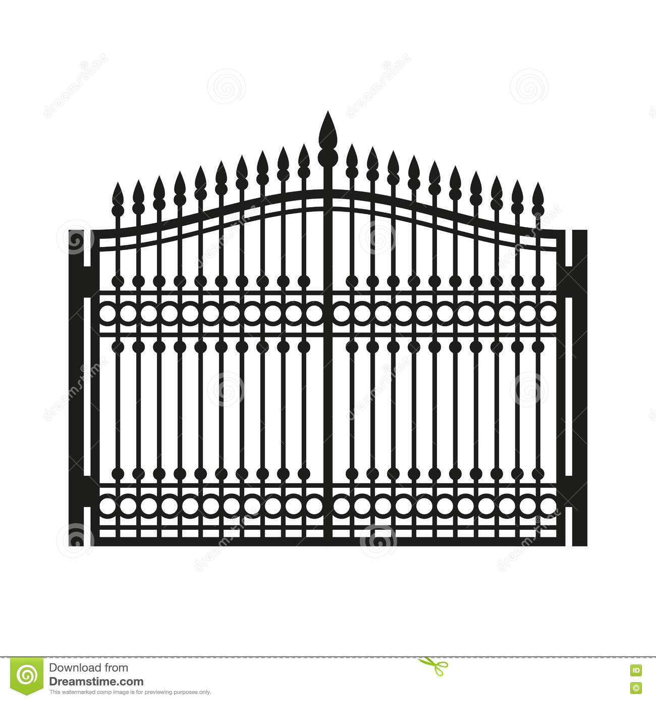 Fence Wrought Iron Gate Old Style Door Vector Stock