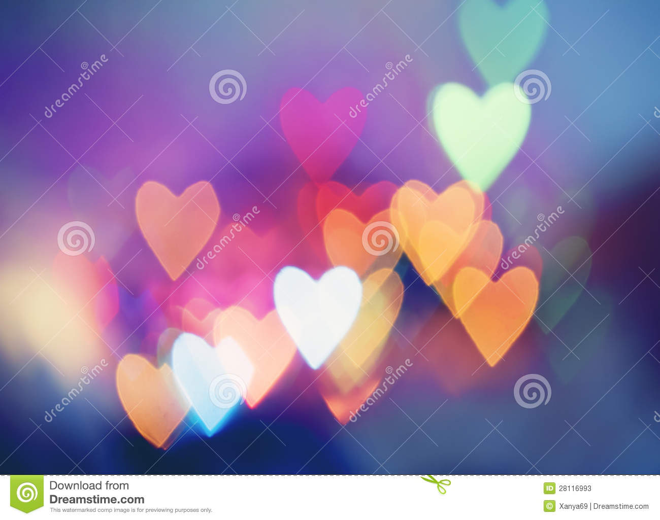 Festive Background With Heart Shaped Bokeh Royalty Free