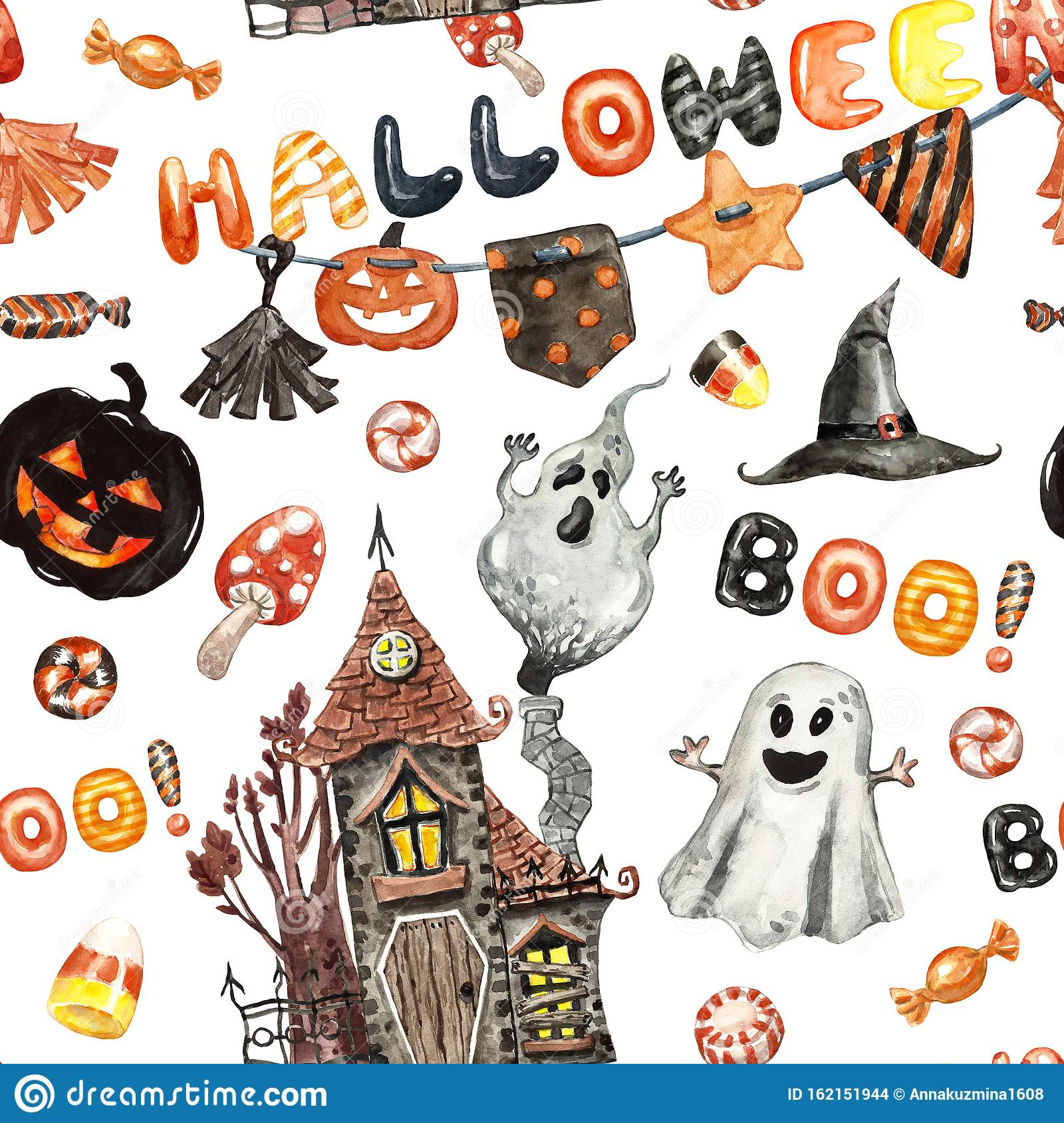 Festive Halloween Seamless Pattern With Hand Painted