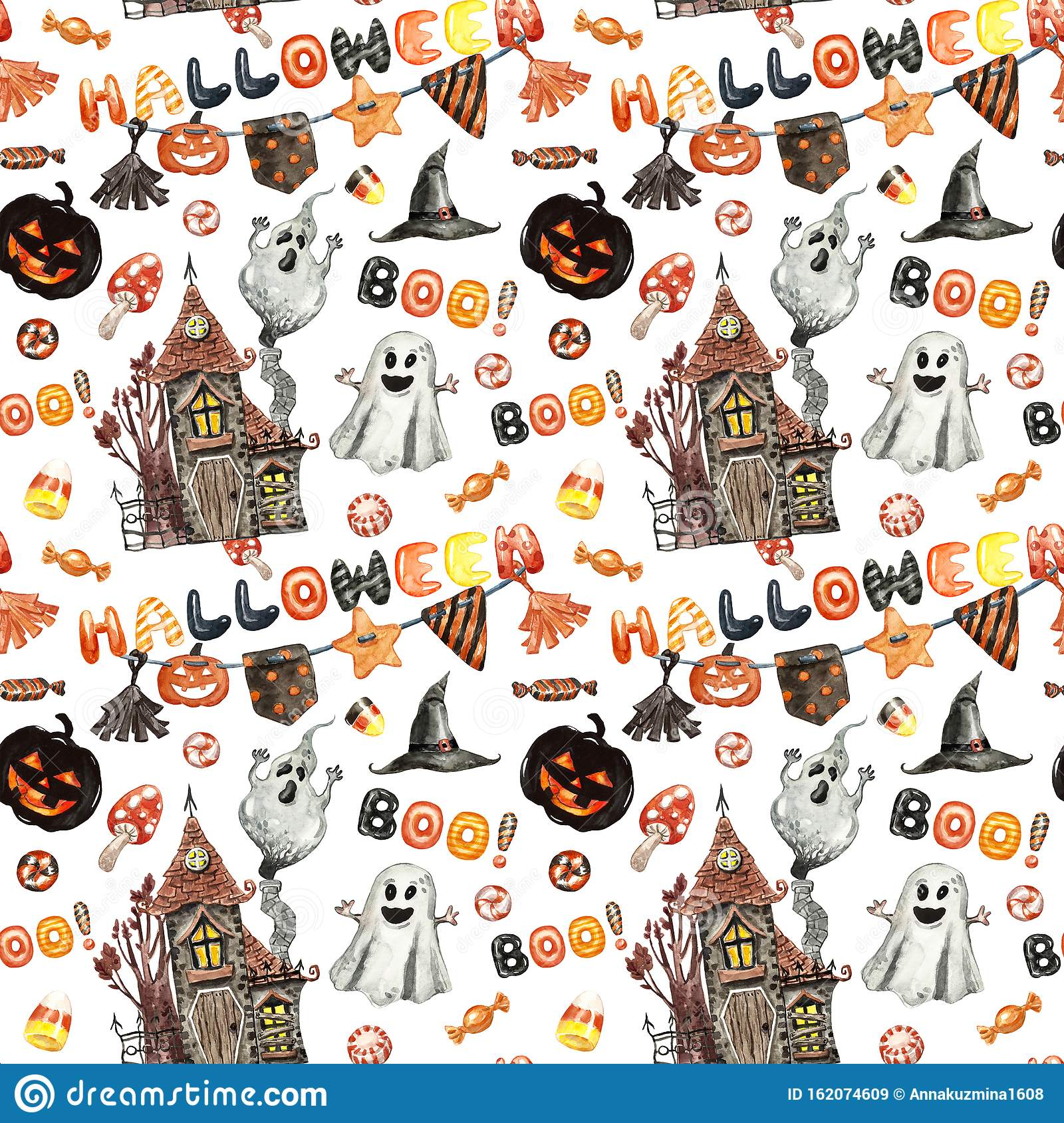 Watercolor Orange And Black Halloween Seamless Pattern