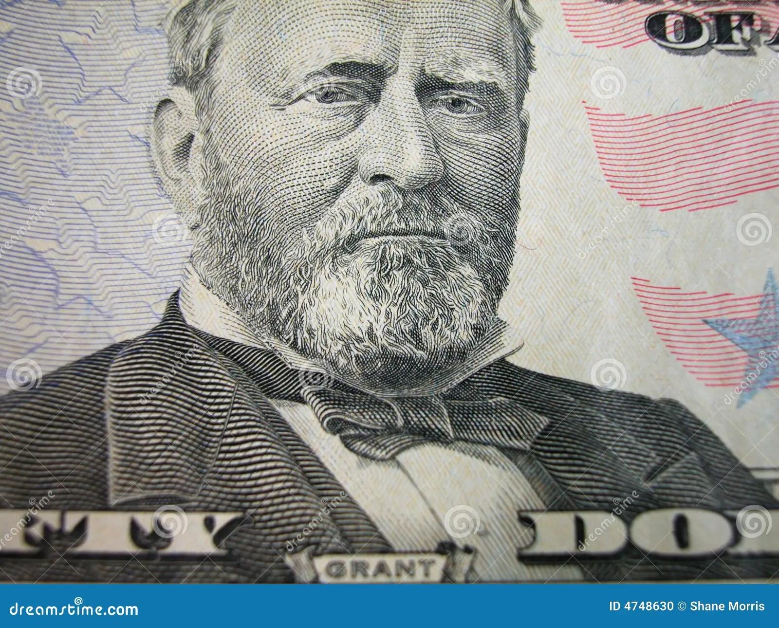 Fifty Dollar Bill Grant Centered Stock Photo