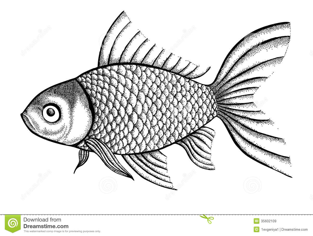 Figure Fish Painted In A Graphic Style Points And Stock