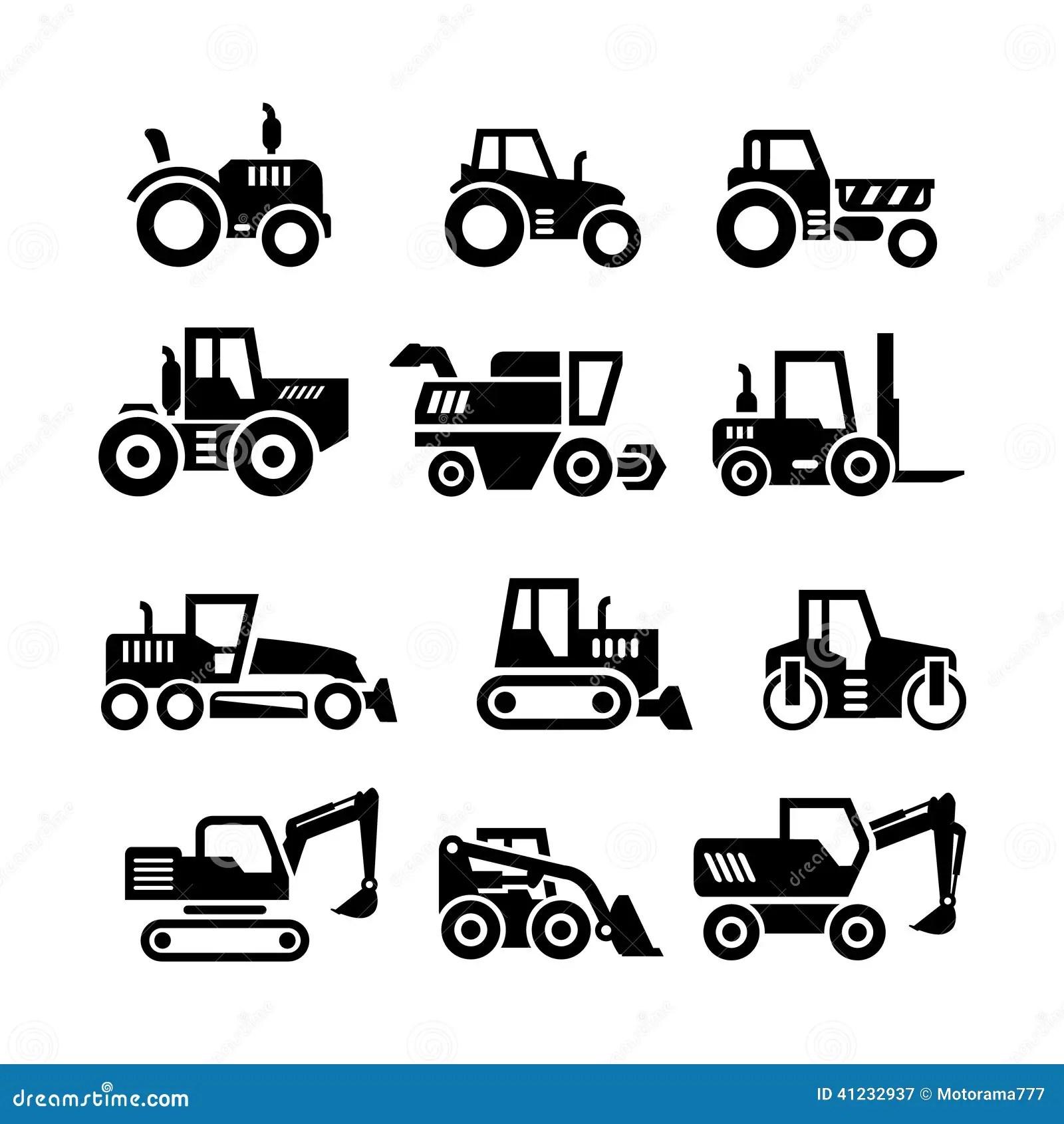Fije Los Iconos De Tractores De La Granja Y De Las