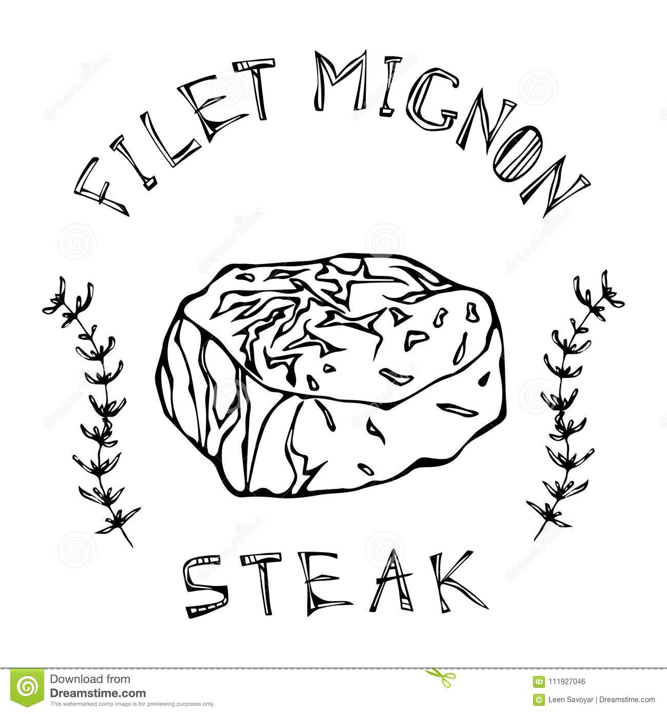 Filet Mignon Steak Beef Cut With Lettering In S Thyme Herb